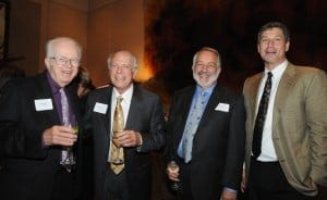 Author Neil Smelser, Trustees Stephen Arditti and James Naify, and UC Vice Provost Daniel Greenstein celebrate the success of the Voice for Great Ideas Campaign at the Wattis Room in San Francisco.