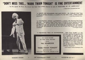 Mark Twain Tonight, 1957. University of Iowa Libraries, Redpath Chautauqua Collection.