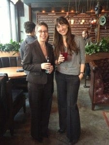 Acquisitions Editor Mary Francis (L) and Journals Publishing Manager Hannah Love (R) at the Film Quarterly reception