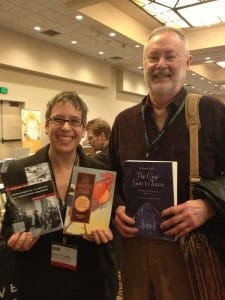 Acquisitions Editor Mary Francis (R) with UC Press author Richard Abel (L)