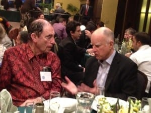 UC Press author Albie Sachs (L) with California Governor Jerry Brown (R)