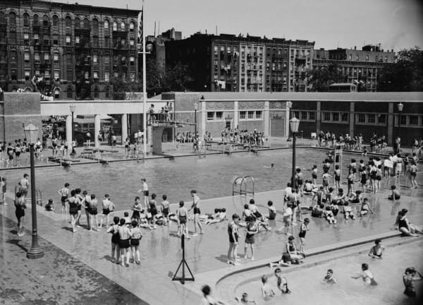 Jefferson Park Pool and Bathhouse, 1 July 1936.  Courtesy of New York City Department of Parks and Recreation