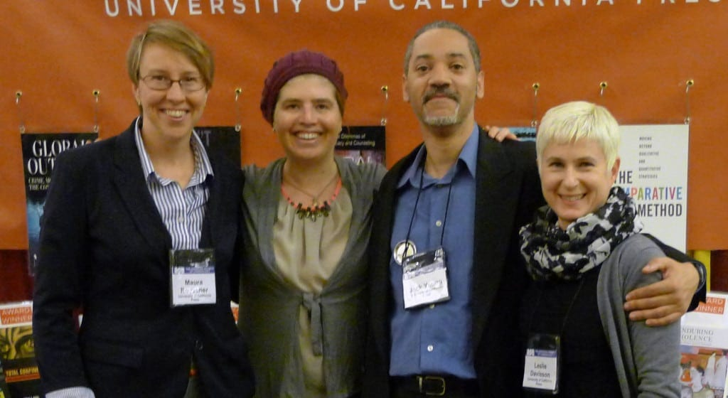 From left to right: Maura Roessner, senior editor; Hadar Aviram, author of Cheap on Crime; Jack Young, editorial assistant; Leslie Davisson, marketing manager