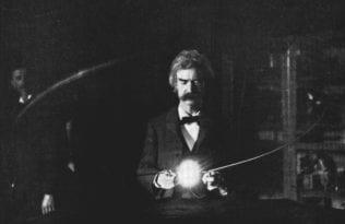 Twain in Tesla Lab, 1894