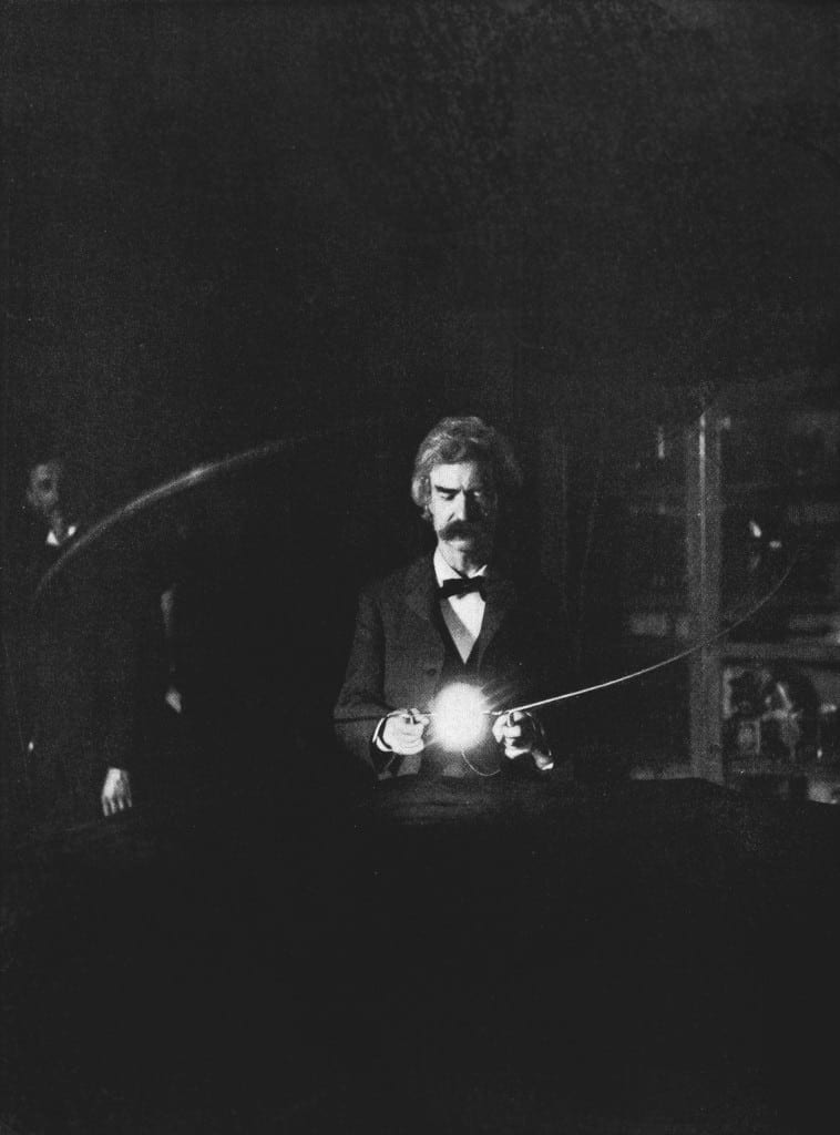 Twain in Tesla Lab, 1894