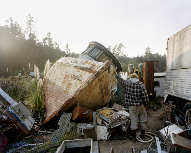 <p>Fishing boat salvage year overflowing after collapse of salmon stock. Noyo, Fort Bragg, 2007.</p>