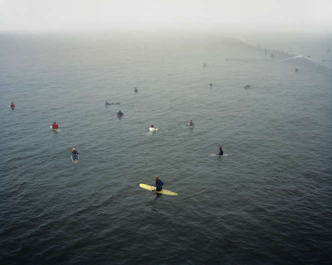 <p>Surfers in fog waiting for waves. Huntington Beach, 2008.</p>