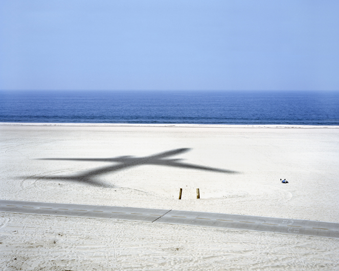 <p>Dad napping on beach, and passing aircraft. Dockweiler State Beach, 2007.</p>