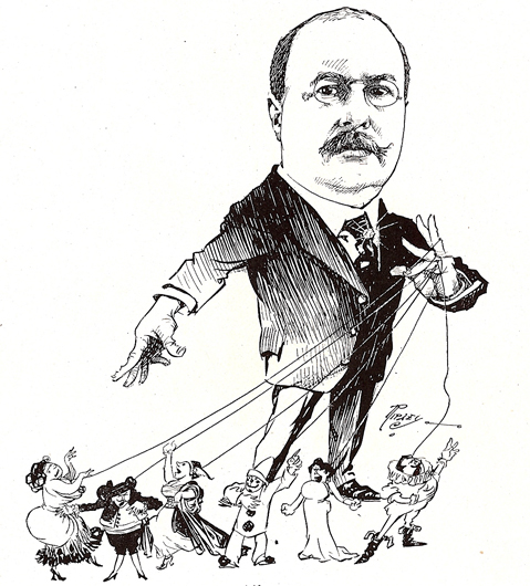 <p>Image 5. Caricature of Will Greenbaum (d. 1917), impresario and the first manager of the San Francisco Symphony (from Men Who Made San Francisco, 1902) Book reference: p. 42</p>