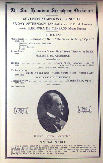 <p>Image 6. San Francisco Symphony concert program, Jan 22, 1915, showing the typical image of Henry Hadley that appeared on programs during his years as conductor. (Courtesy of the San Francisco Symphony). Book reference: p. 43.</p>