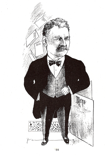 <p>Image 8. Caricature of Charles O. (&ldquo;Old Man&rdquo;) Swanberg, owner of the Portola Louvre Caf&eacute; and supporter of Sid LeProtti&rsquo;s &ldquo;So Different&rdquo; jazz band (from Men Who Made San Francisco, 1902). Book reference: p. 98</p>