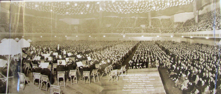 <p>Image 9. Concert at the San Francisco Civic Auditorium, Feb 23, 1928, showing 11,000 fans packing the hall to hear Yehudi Menuhin play the Beethoven violin concerto with the San Francisco Symphony. Menuhin, age 11, is shown in front of the orchestra, shaking hands with conductor Alfred Hertz. (Courtesy of the Jean Hargrove Music Library, University of California, Berkeley.) Book reference: p. 124.</p>