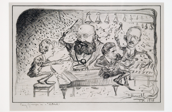 <p>Image 12. Caricature by violinist/violist Ulderico Marcelli, showing (left to right) Percy Grainger, Alfred Hertz, Louis Persinger, and Redfern Mason on the occasion of Grainger&rsquo;s performance with the San Francisco Symphony in December 1916. The cartoon appeared in the San Francisco Examiner on Dec. 24, 1916. (Reproduced courtesy of the Grainger Museum, University of Melbourne.) Book reference: p. 207&ndash;8.</p>