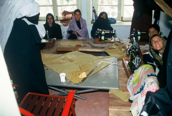<p>Fig. 5: A sewing class at the Ministry of Women&rsquo;s Affairs in Kabul.<br />Photo by Sheryl B. Shapiro, 2003</p>