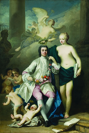 <p>Fig. 2. Jacopo Amigoni. Farinelli crowned by Music (Euterpe), 1735. Amigoni suggests a mythological crowning at a moment when Farinelli was at the height of his vocal and representational powers and was still singing publicly in London. Oil on canvas. 277 x 186 cm. Muzeul National de Arta al Rom&acirc;niei, Bucharest. Reproduced by permission.</p>