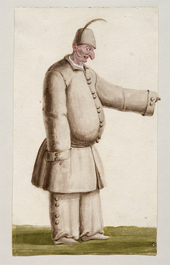 <p>No. 16. Lodovico Ottavio Burnacini (1636-1707), <em>Pulcinella,</em> watercolor, late seventeenth century. Österreichische Nationalbibliothek, Vienna. Reproduced by permission.</p>