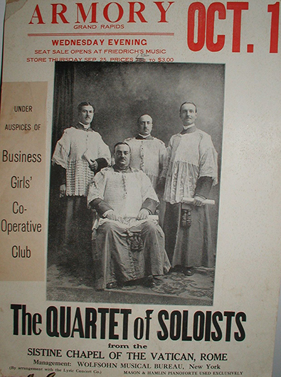 <p>Fig. 31. Poster announcing a performance by the Quartetto Vocale Romano Gabrielli-Gentili, Grand Rapids, Michigan, October 1, 1919. Presented by the Business Girls&#39; Cooperative Club. Original print in the private collection of Luciano Luciani, Fiumicino (Rome), kindly made available by the collector.</p>