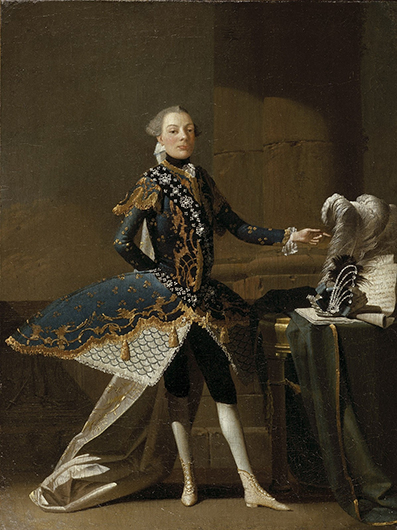 <p>Fig. 34. Charles Joseph Flipart, portrait of Carlo Scalzi (Signor &#34;Sirbace&#34;), who is given a decidedly royal expression and bearing as he points to his regalia, which in his case includes a theatrical crown with great ostrich plume and a sheet of music. 1737. Oil on canvas, 18 1/2 x 14 inches. Wadsworth Athenaeum Museum of Art, Hartford, CT. The Ella Gallup Sumner and Mary Catlin Sumner Collection Fund, 1938. No. 177. Reproduced by permission.</p>