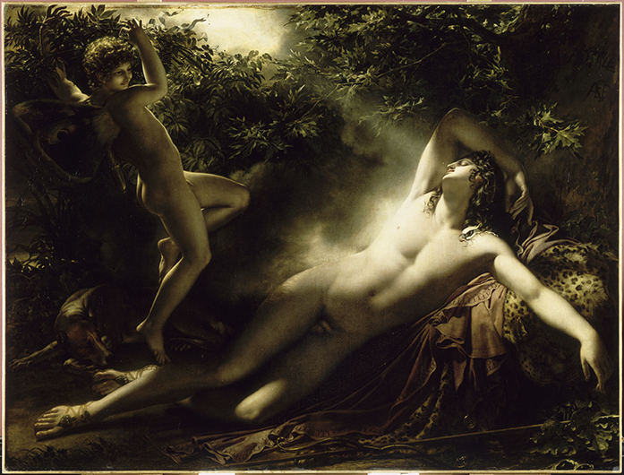 <p>Fig. 52. Anne-Louis Girodet de Roussy-Trioson (1767-1824), <em>The Sleep of Endymion,</em> 1793. The painting is mentioned in Balzac&#39;s <em>Sarrasine,</em> where it hangs fictitiously in the salon of the Lanty family and absorbs the attention of the narrator&#39;s female auditor. Nowadays it is housed in the Louvre in Paris. (c) RMN-Grand Palais/ Art Resource, New York. Reproduced by permission.</p>