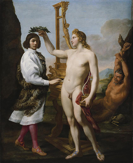 <p>Fig. 9. Andrea Sacchi, oil painting of Marc&#39;Antonio Pasqualini (1614-91) being crowned by Apollo. 1641. Image courtesy of the Metropolitan Museum of Art, New York City. Purchase, Enid A. Haupt Gift and Gwynne Andrews Fund, 1981. Reproduced by permission.</p>
