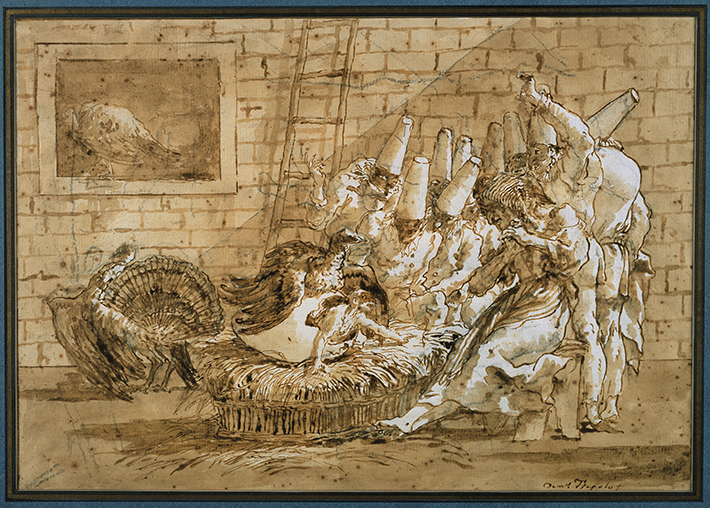 <p>Fig. 19. Giandomenico Tiepolo, drawing of Pulcinella hatching from the egg of a turkey, surrounded by Pulcinella figures. Sepia ink on paper, ca. late eighteenth century to 1800. Private collection, London. Photographic Survey, The Courtauld Institute of Art. Reproduced by permission.</p>