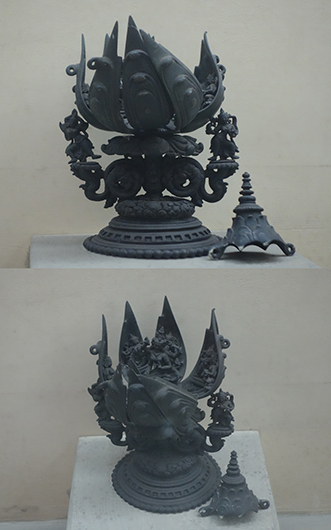 <p>Web 2-4 Vajra Tārā lotus maṇḍala, Chandipur near Pātharghāta in Bhagalpur district, Bihar, ca. 12th century. Bronze. Indian Museum, Kolkata.</p>