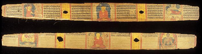 <p>Web 3-1 Buddha&rsquo;s life scenes, Tārā and Avalokiteśvara, folios 187v&ndash;188r, AsP Ms (Ms A6), ca. mid-11th century. &copy; Wellcome Library (Sansk &epsilon; 1).</p>