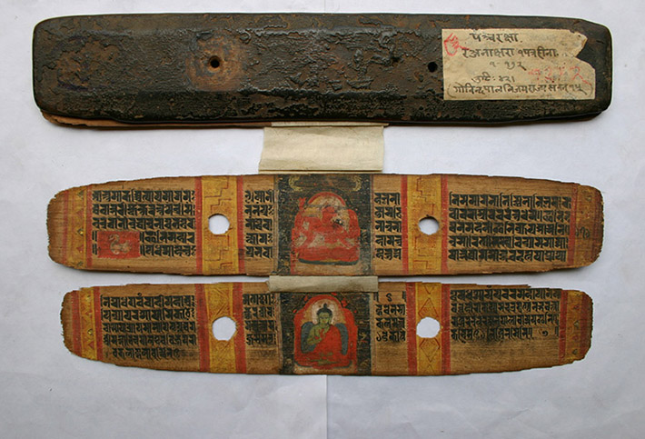 <p>Web 4-3 Mahāśītavatī and Amoghasiddhi, folios 70v&ndash;71r, <em>Pa&ntilde;carakṣā</em> Ms (Ms C6), Govindapāla&rsquo;s 16th year (ca. 1191 CE). National Archive, Kathmandu Acc. No. 5.83.</p>