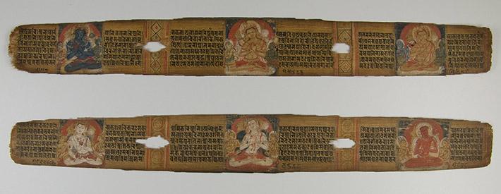 <p>Web 4-4 Six bodhisattvas, folios 63v&ndash;64r, <em>Pa&ntilde;carakṣā</em> Ms (Ms C5), Madanapāla&rsquo;s 13th year (ca. 1156 CE). Museum Rietberg, Zurich, Gift of Fritz and Monika von Schulthess.</p>