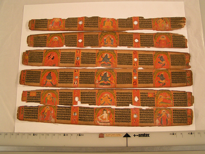<p>Web 5-4 Illustrated folios (1v&ndash;2r, 107r&ndash;106v, 222r&ndash;221v; note that 107r&ndash;106v and 222r&ndash;221v are switched in their order.), AsP Ms (Ms D9), Govindapāla&rsquo;s 32nd year (ca. 1207 CE), Asiatic Society, Mumbai, Acc. No. I-210.</p>