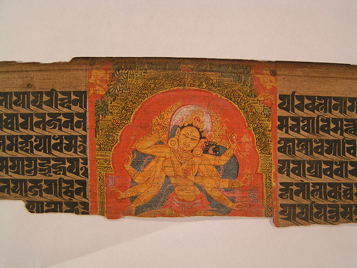 <p>Web 5-5 Vajra-Tārā, folio 222r, center panel, AsP Ms (Ms D9), Govindapāla&rsquo;s 32nd year (ca. 1207 CE), Asiatic Society, Mumbai, Acc. No. I-210.</p>