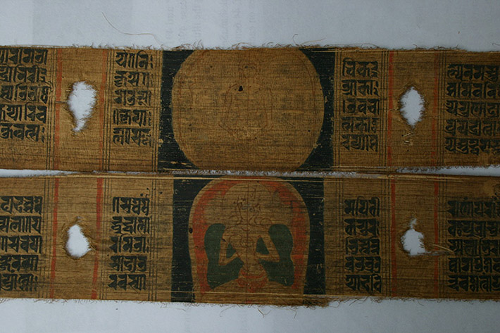 <p>Web 6-3 Unfinished panels depicting Buddha (top) and Prajñāpāramitā (bottom), folios 1v&ndash;2r, AsP Ms, ca. late 12th century, Kaiser Library, Kathmandu, Acc. No. 9.102.</p>