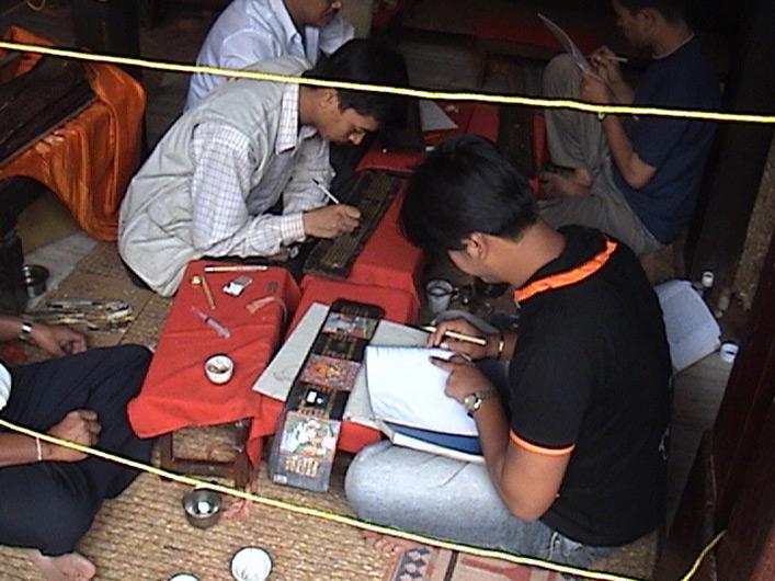 <p>Web 7-3 Vajrācāryas gathered to restore the <em>Prajñāpāramitā</em> manuscript, Kwā Bāhā, Patan, Nepal, July 19, 2004.</p>