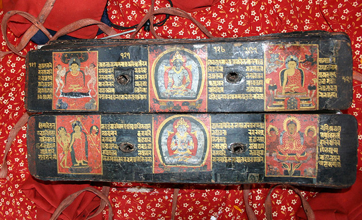 <p>Web 7-4 Folios 127v&ndash;128r with original 13th-century painted panels, AsP Ms, NS 345 (1235 CE), Kwā Bāhā, Patan, Nepal.</p>