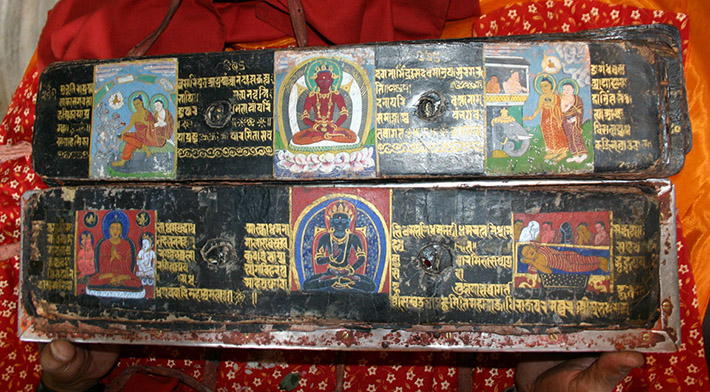 <p>Web 7-5 Folios 296v&ndash;297r with painted panels restored during the 20th century, AsP Ms, NS 345 (1235 CE), Kwā Bāhā, Patan, Nepal.</p>