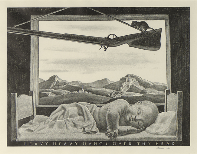 <p>Rockwell Kent<em>, Heavy Heavy Hangs Over Thy Head</em>, 1946.&nbsp;Columbus Museum of Art, Ohio: Museum Purchase, Derby Fund, from the Philip J. and Suzanne Schiller Collection of American Social Commentary Art 1930-1970. 2005.013.201</p>