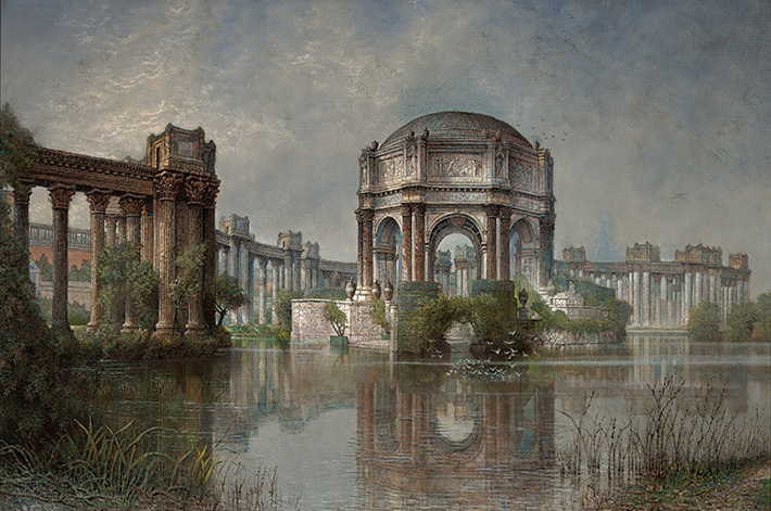 <p>Edwin Deakin (American, b. England, 1838&ndash;1923), &ldquo;Palace of Fine Arts and the Lagoon,&rdquo; ca. 1915. Oil on canvas. 32 3/8 &times; 48 3/8 in. Crocker Art Museum, Sacramento, long-term loan from the California Department of Finance, conserved with funds provided by Gerald D. Gordon</p>