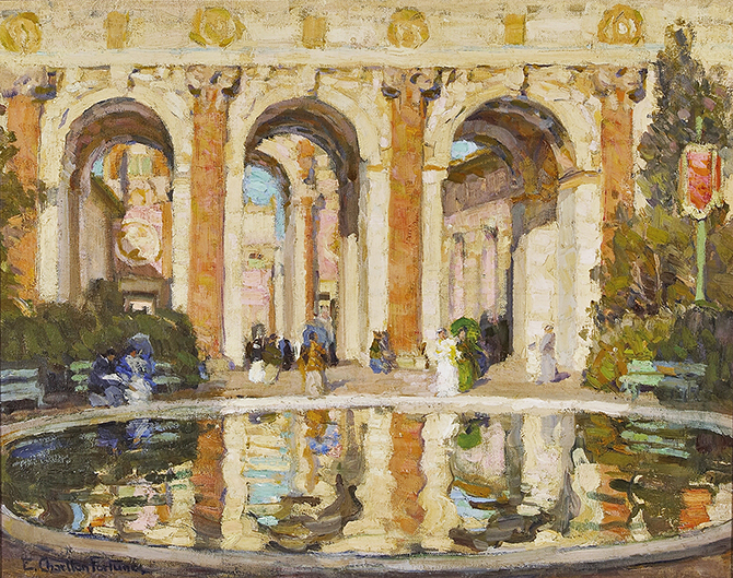 <p>E. Charlton Fortune (American, 1885&ndash;1969), &ldquo;The Pool (The Court of the Four Seasons),&rdquo; ca. 1915. Oil on canvas. 16 1/4 &times; 20 in. Private collection.</p>