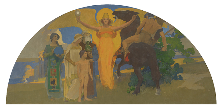 <p>Arthur Frank Mathews (American, 1860&ndash; 1945), &ldquo;The Victory of Culture over Force (Victorious Spirit),&rdquo; 1914. Oil on canvas. 119 &times; 238 in. San Francisco War Memorial</p>
