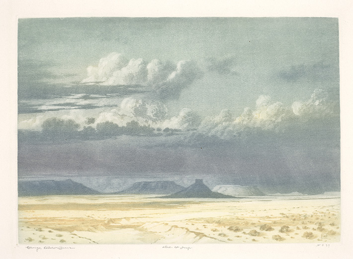 <p>George Elbert Burr (American, 1859&ndash;1939), &ldquo;Arizona Clouds,&rdquo; before 1915. Color mezzotint (sandpaper ground) with color drypoint. 7 1/16 &times; 9 15/16 in. Fine Arts Museums of San Francisco, California State Library long loan</p>