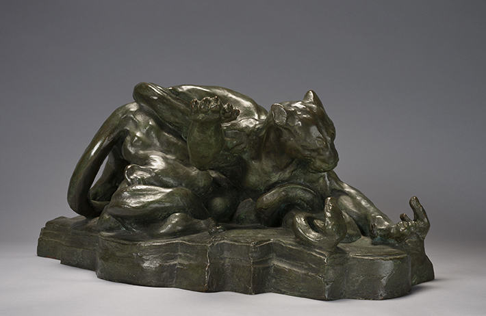 <p>Arthur Putnam (American, 1873-1930), &#39;Combat: Puma and Serpents,&#39; ca. 1906. Bronze. 11 x 26 &frac12; x 12 &frac12; in. Fine Arts Museums of San Francisco, gift of Alma de Bretteville Spreckels</p>