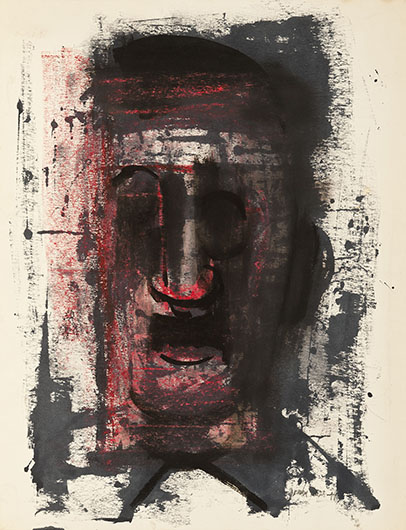 <p>Untitled (Self Portrait), 1949<br /> Oil on paper, 26 1/4 x 20 in.<br /> Collection of Billy E. Hodges<br /> &copy; Estate of Norman W. Lewis; Courtesy of Michael Rosenfeld Gallery LLC, New York, NY</p>