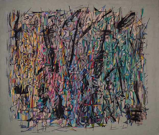 <p><em>Changing Moods</em>, 1947 <br />Oil and ink on canvas, 38 x 43 1/2 in. <br />Mott-Warsh Collection, Flint, Michigan <br />&copy; Estate of Norman W. Lewis; Courtesy of Michael Rosenfeld Gallery LLC, New York, NY</p>