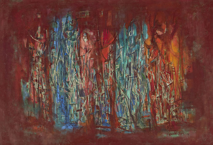 <p><em>Five Phases</em>, 1949<br /> Oil on canvas, 33 1/2 x 48 1/2 in.<br /> The Thompson Collection, Indianapolis, Indiana<br /> &copy; Estate of Norman W. Lewis; Courtesy of Michael Rosenfeld Gallery LLC, New York, NY</p>