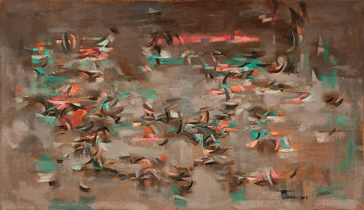 <p><em>Birds, </em>1950<br /> Oil on canvas, 34 x 58 7/8 in.<br /> Courtesy of Kara and Wayne Fingerman<br /> &copy; Estate of Norman W. Lewis; Courtesy of Michael Rosenfeld Gallery LLC, New York, NY</p>
