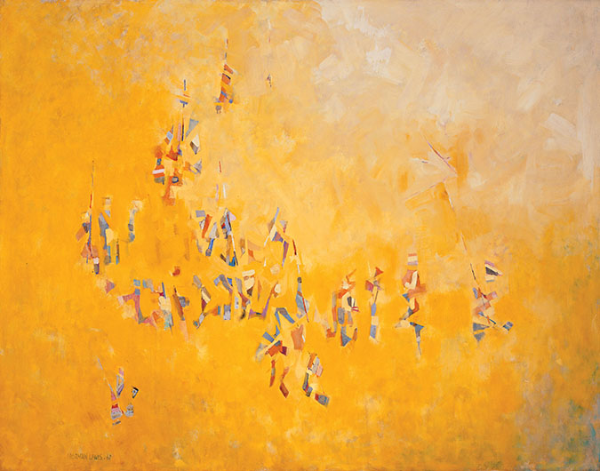 <p><em>Carnivale del Sol,</em> 1962<br /> Oil on canvas, 50 x 64 in.<br /> Stephen J. Meringoff<br /> &copy; Estate of Norman W. Lewis; Courtesy of Michael Rosenfeld Gallery LLC, New York, NY</p>