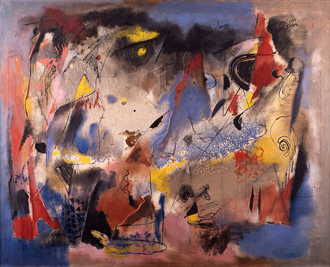 <p><em>Fantasy, </em>1936<br /> Oil and ink on canvas, 31 1/2 x 40 in.<br /> Courtesy of Leslie Lewis and Christina Lewis Halpern from the Reginald F. Lewis Family Collection<br /> &copy; Estate of Norman W. Lewis; Courtesy of Michael Rosenfeld Gallery LLC, New York, NY</p>