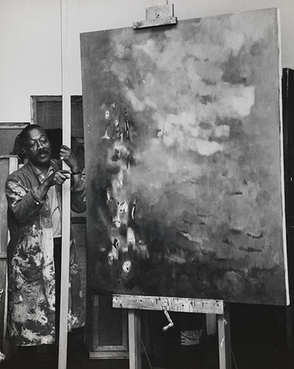 <p>Norman Lewis in the studio <br />Estate of Norman W. Lewis; Courtesy of Michael Rosenfeld Gallery, New York</p>