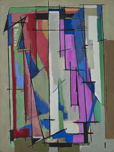 <p><em>Composition I</em>, 1945<br /> Oil on canvas, 40 x 24 in.<br /> The Thompson Collection, Indianapolis, Indiana<br /> &copy; Estate of Norman W. Lewis; Courtesy of Michael Rosenfeld Gallery LLC, New York, NY</p>