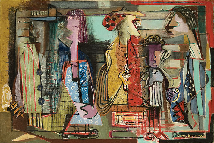 <p>Title unknown (Subway), 1945<br /> Oil and sand on canvas, 24 x 36 in.<br /> Courtesy of Michael Rosenfeld Gallery, New York<br /> &copy; Estate of Norman W. Lewis; Courtesy of Michael Rosenfeld Gallery LLC, New York, NY</p>